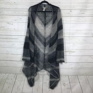 Lucky Brand Black Gray Chevron Open Knit Cardigan